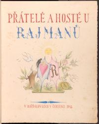 Titulní list Knihy hostů, kteří navštěvovali Rajmanovo knihařství