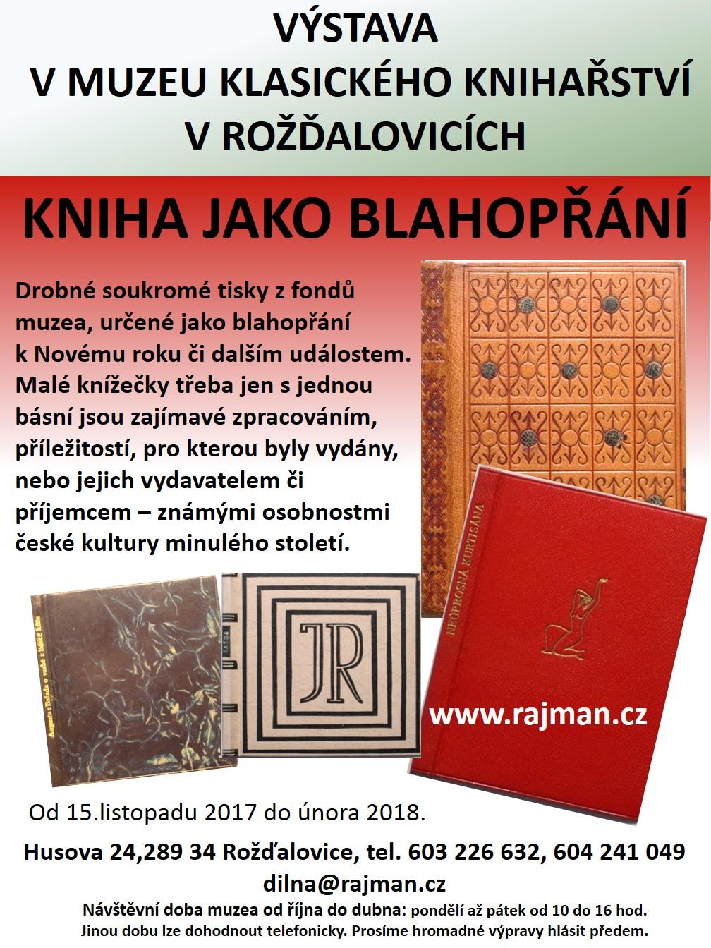 Pozvánka na výstavu Kniha jako blahopřání