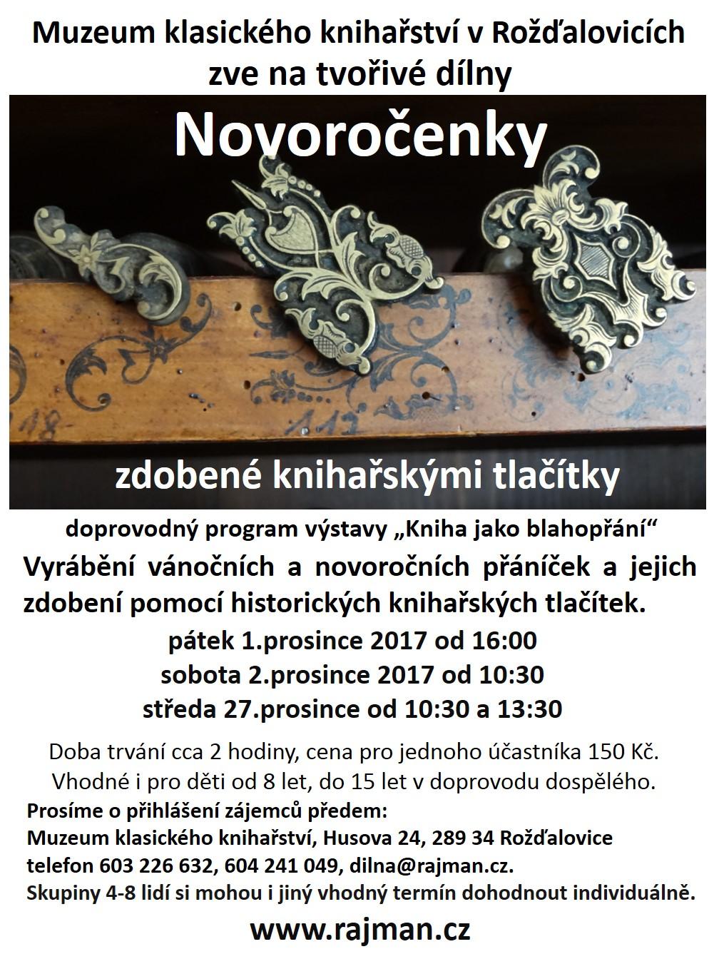 Pozvánka na workshop zdobení knihařskými tlačítky