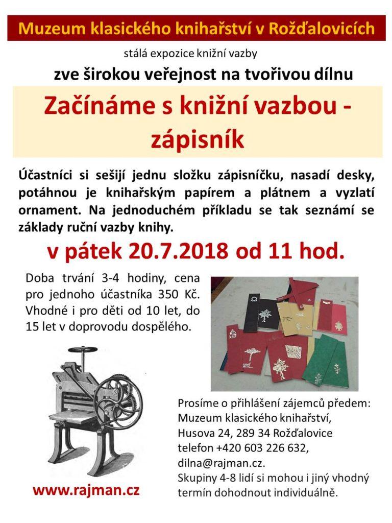 Pozvánka na workshop - začínáme s knižní vazbou